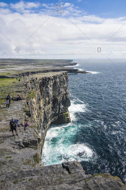 Arainn, Republic of Ireland - August 24, 2016: Rocky cliffs of Arainn, Aaran Islands