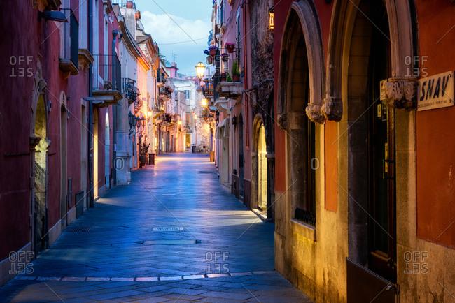 Sicily, Italy - May 7, 2017: Taormina Street, Taormina
