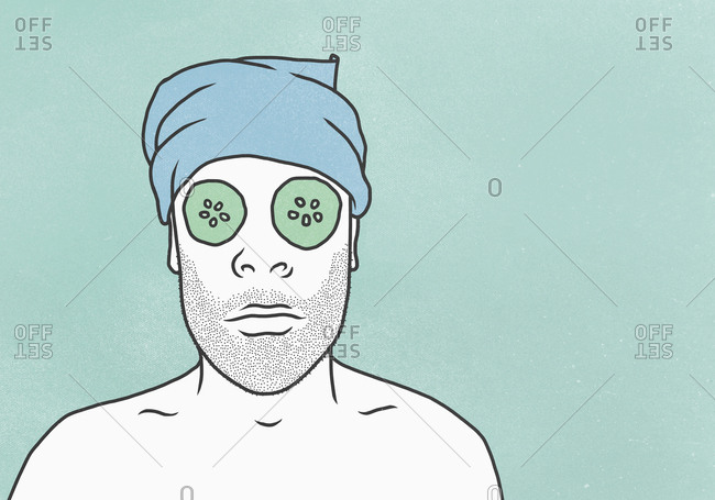 Man wearing face mask and towel against blue background