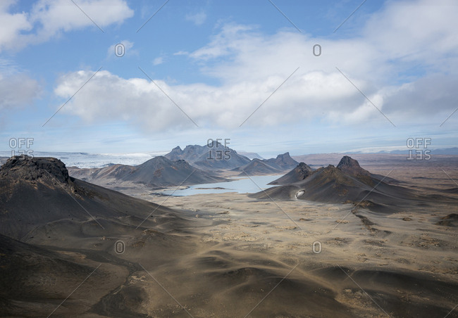 Aerial shot of landscape in Iceland