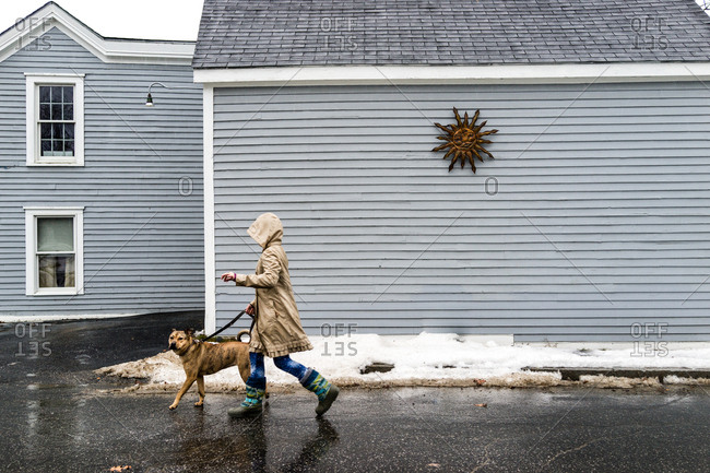 A girl in a rain coat walks a brown dog on a rainy day, passing a house with a metal sun sculpture