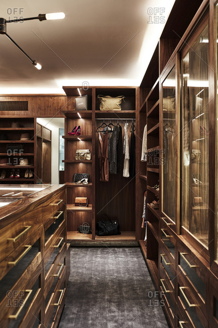 Los Angeles, California, USA - June 19, 2017: Closet inside modern Hollywood Hills home