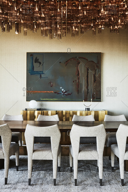 Los Angeles, California, USA - April 15, 2015: Modern dining room inside home in Hollywood Hills