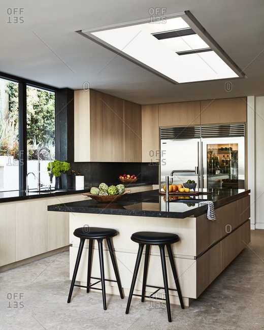 Los Angeles, California, USA - April 15, 2015: Modern kitchen inside home in Hollywood Hills