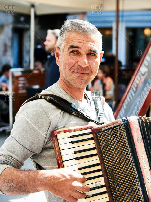 April 30, 2016 - Venice, Italy: Portrait of accordion player