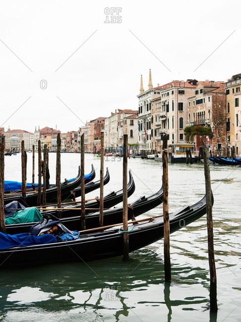 May 1, 2016 - Venice, Italy: Gondolas at dock