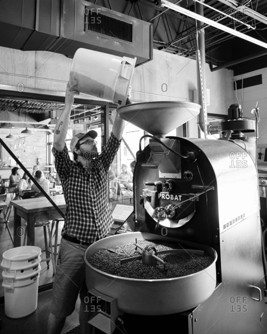 Birmingham, Alabama - July 10, 2015: Man pouring coffee into roaster