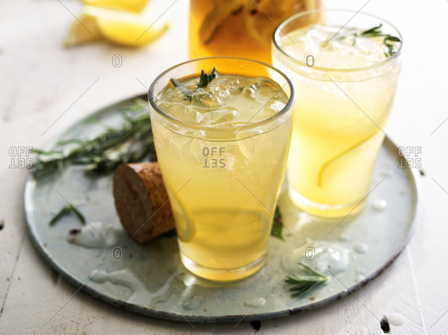 Drinks mixed with rosemary and lemon