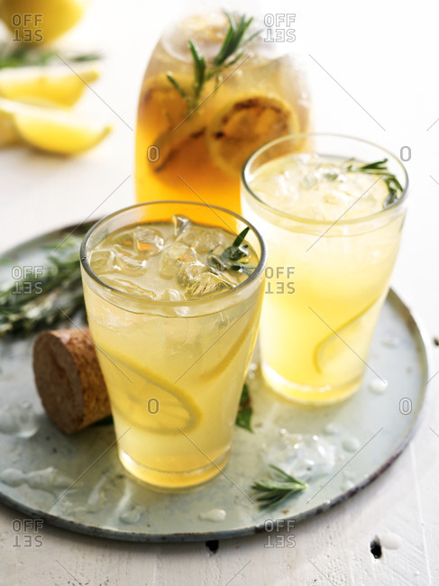 Drinks with rosemary and lemon