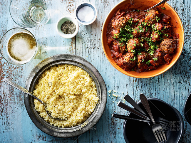 Meatballs in a sauce with couscous