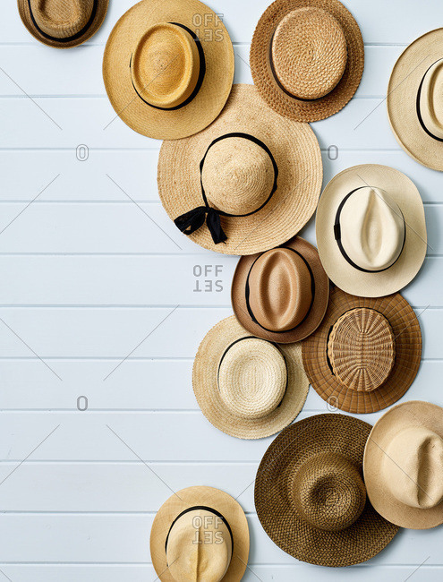 Straw hats decorating wall