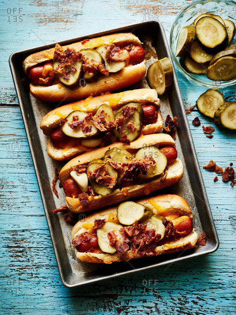 Chili dogs in a pan