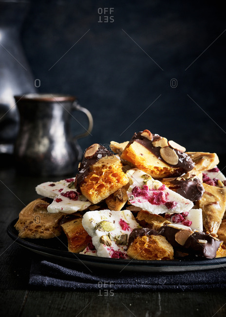 Variety of brittle candies on plate