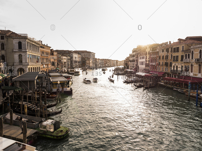 Italy, Venice - March 2, 2017: Canal Grande at evening twilight seen from Rialto Bridge