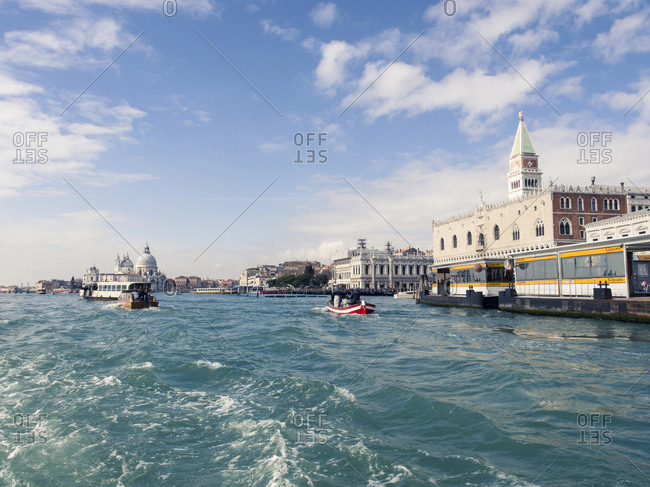 Italy, Venice - March 2, 2017: View to Doge's Palace and Campanile seen from boat