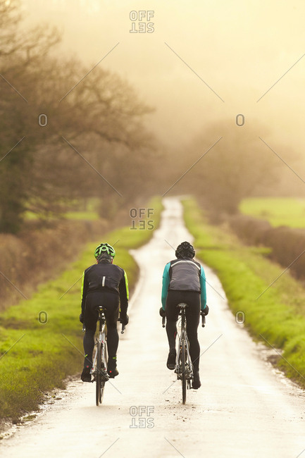 People bicycling in nature