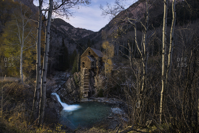 View of Crystal Mill against mountains