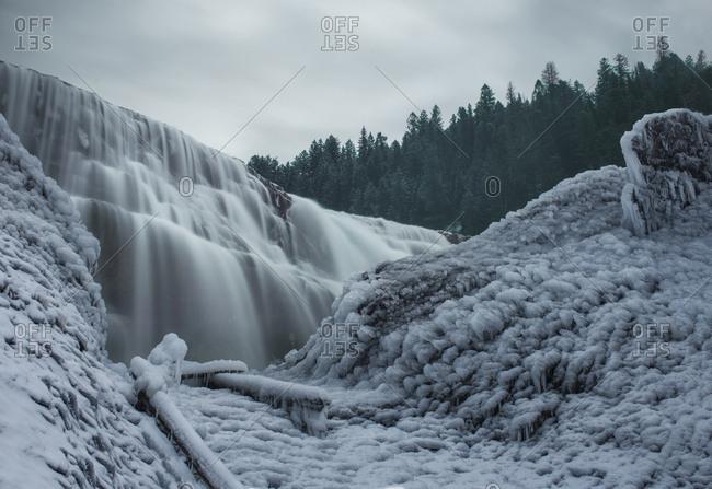 Low angle view of Wapta Falls at Yoho National Park