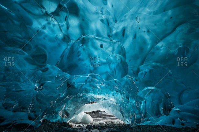 Blue glacial ice cave at Mendenhall Glacier