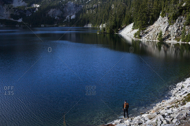 High angle view of hiker standing by Snow Lake