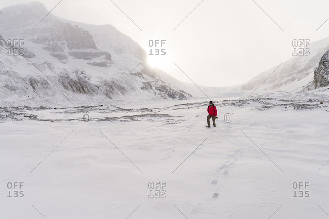 Hiker walking on snow covered landscape during foggy weather