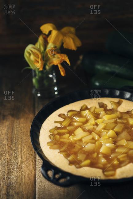 Mock apple crisp made with zucchini