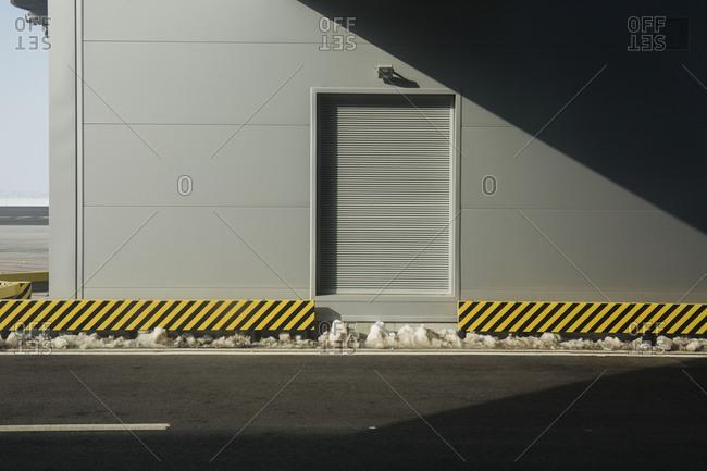 Industrial door in a shadowed pattern