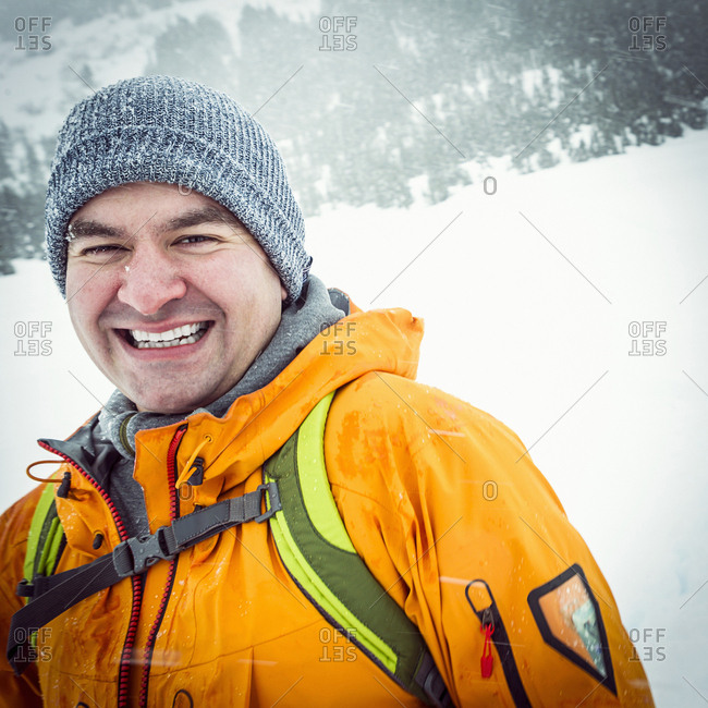 Portrait of young man in wintery outdoor environment