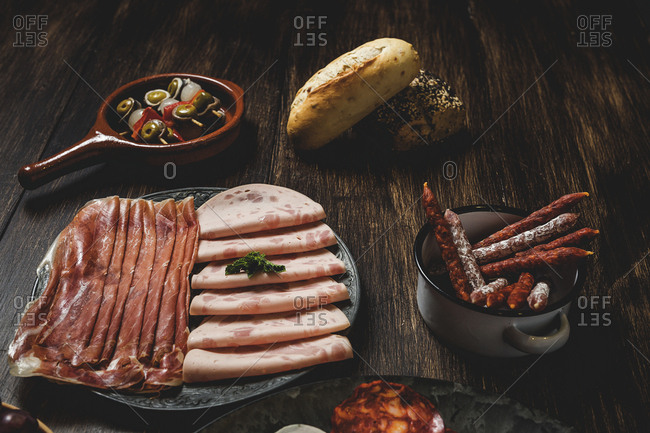 Assortment of sausages typical of Spain