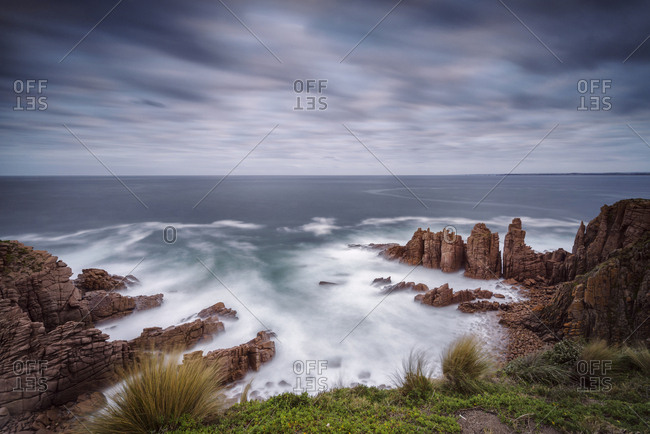 Wide angle seascape of the Phillip island Pinnacles seastacks