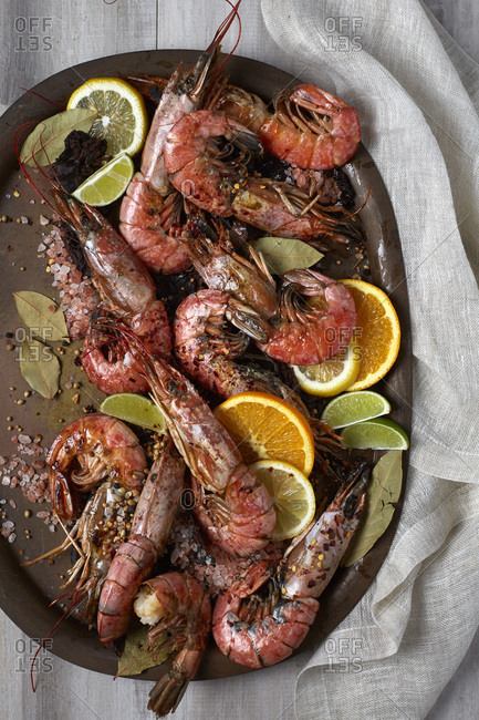 Cooked red shrimp on a light background