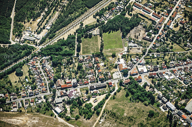 Aerial view of suburban landscape