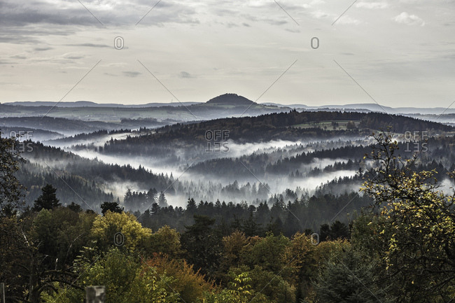 View of forests and morning mist, Baden-Wuerttemberg, Germany
