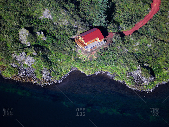 Aerial view of house on coastline