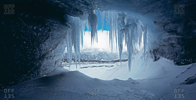 Icicles hanging at mouth of cave