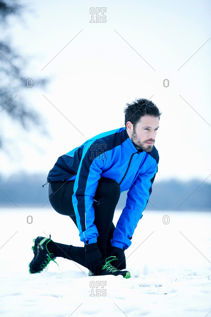 Man preparing for snow run