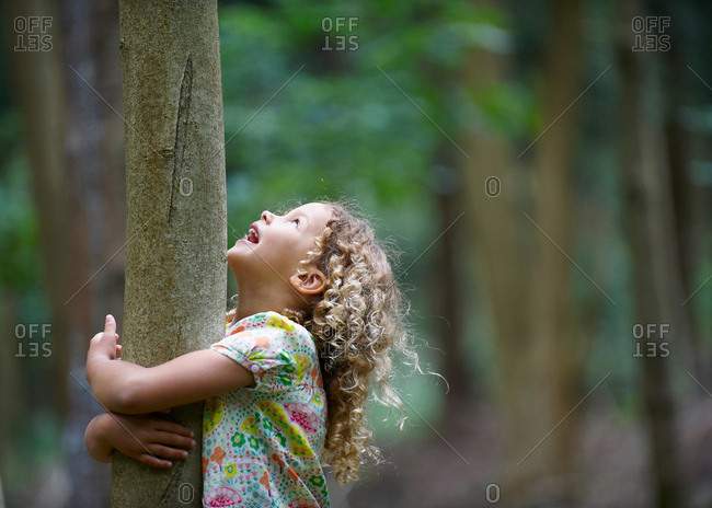 Young girl hugging tree looking up