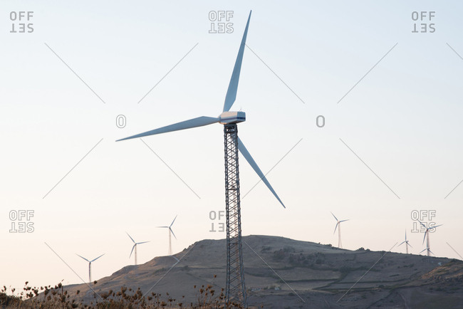 Wind turbines on mountain, Castelsardo, Sardinia, Italy