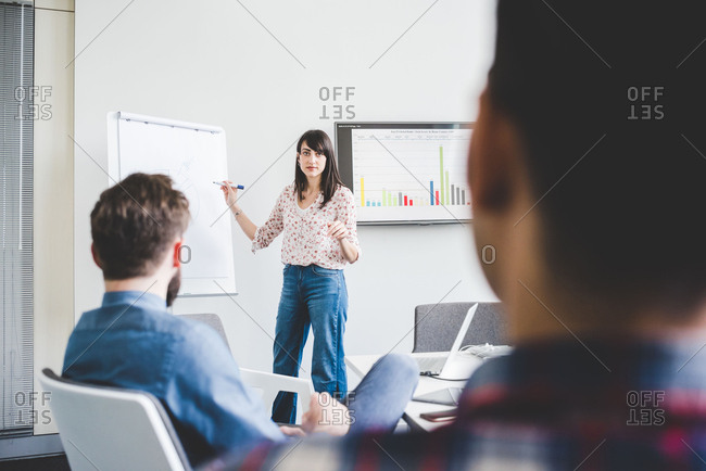 Young female designer presenting ideas in boardroom meeting