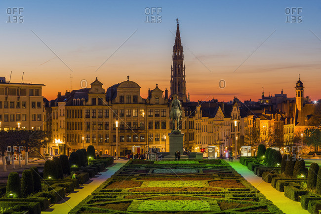 Brussels, Belgium - March 25, 2017: City center skyline from Mont Des Arts