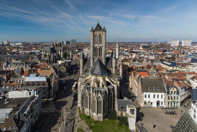 Ghent, Belgium - March 26, 2017: Saint Nicholas' Church and city skyline