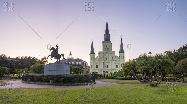 New Orleans, Louisiana - October 12, 2016: French Quarter with Jackson Square and Saint Louis Cathedral at dusk