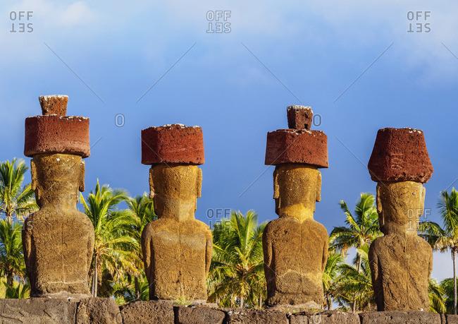 Moais in Ahu Nau Nau by the Anakena Beach, Rapa Nui National Park, Easter Island, Chile