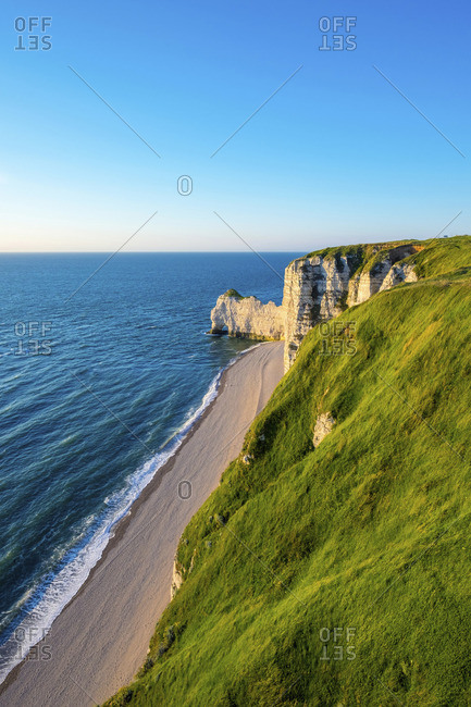 France, Normandy (Normandie), Seine-Maritime department, Etretat. White chalk cliffs on coast of the English Channel