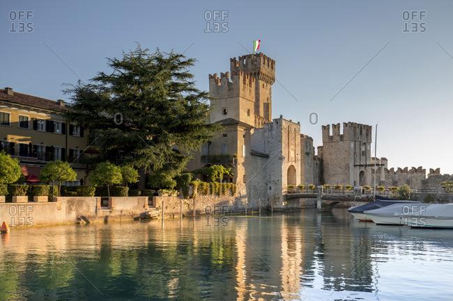 Italy. Lombardy. Brescia district. Lake Garda. Sirmione. Castello Scaligero (Scaligers Castle)