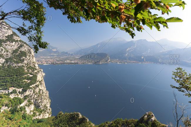 Italy. Veneto. Verona district. Lake Garda. Riva del Garda. Lake seen from the ponale trail
