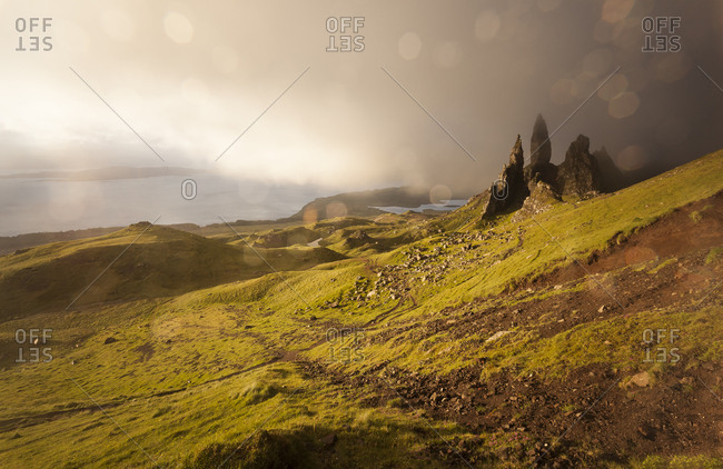 UK- Scotland- Isle of Skye- The Storr at cloudy day