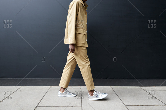 London, England - June 11, 2017: Low section side view of man in safari style suit