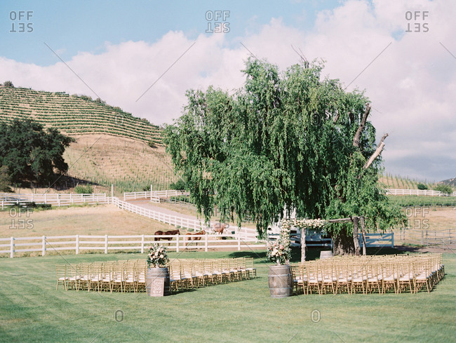 Wedding set up in farmland