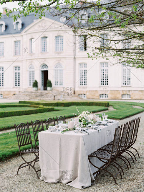 Wedding table on chateau lawn